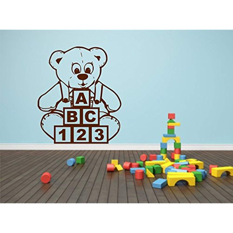 Teddy Bear Blocks Abc Wall Sticker Child Decal Transfer