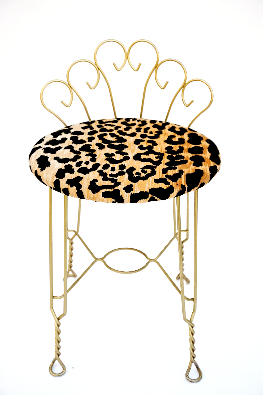 Vintage Leopard Velvet & Gold Metal Vanity Stool