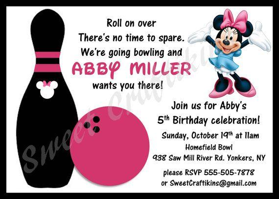 DIY Printable Minnie Mouse Bowling Birthday Invitation Bowling - bowling invitation