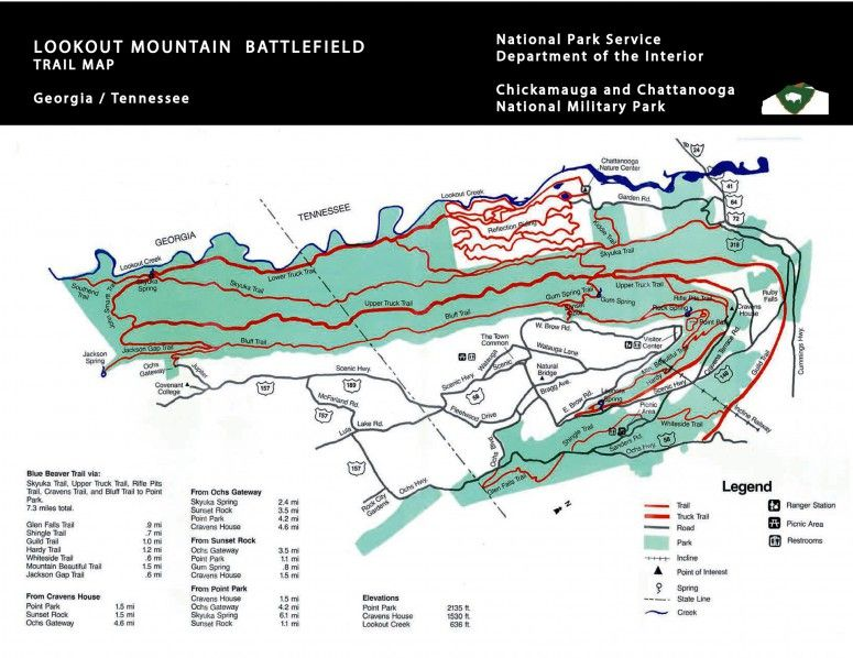 Chickamauga And Chattanooga National Military Park Lookout Mountain Trail Maps Chattanooga