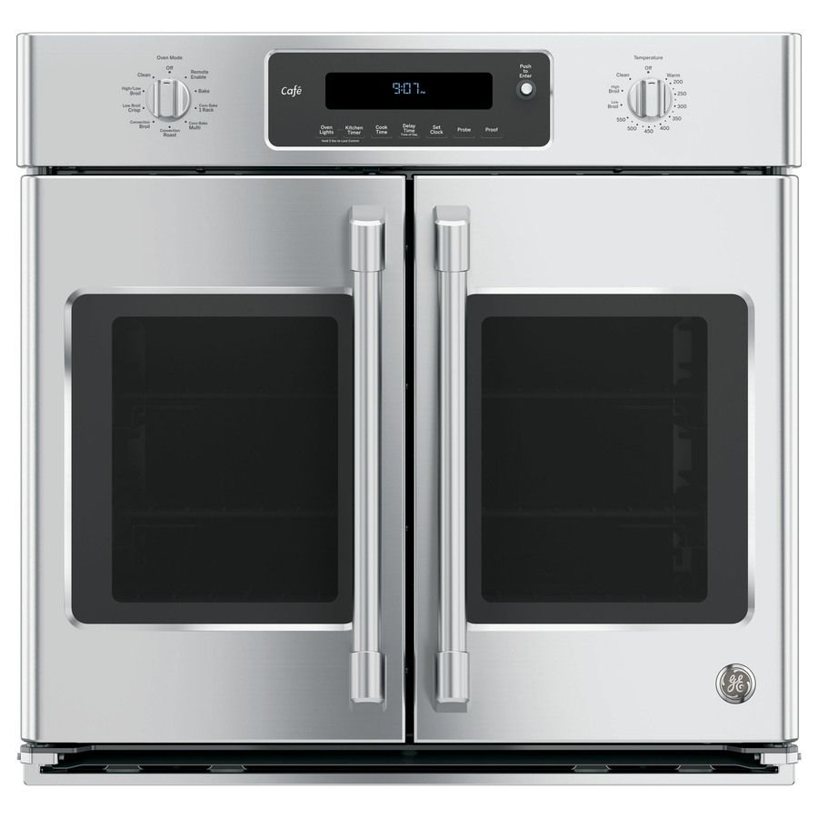 Shop GE Cafe Series Self-Cleaning Convection Single Electric Wall Oven (Stainless Steel) (Common: 30-in; Actual 29.75-in) at Lowes.com