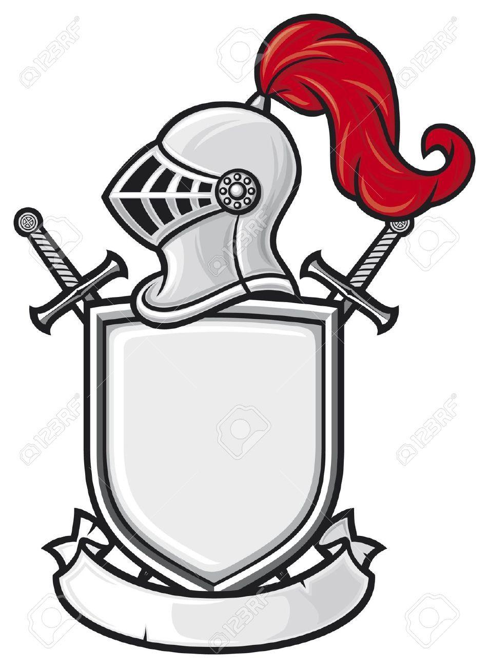 Ausmalbilder Ritter Playmobil : Mittelalterlichen Ritter Helm Schild Gekreuzte Schwerter Und
