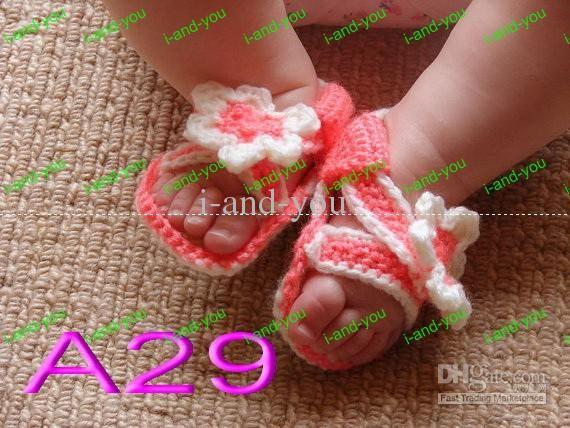 150pair/lot BEBÉ botines SANDALIAS crochet patrón MUÑECA al por ...