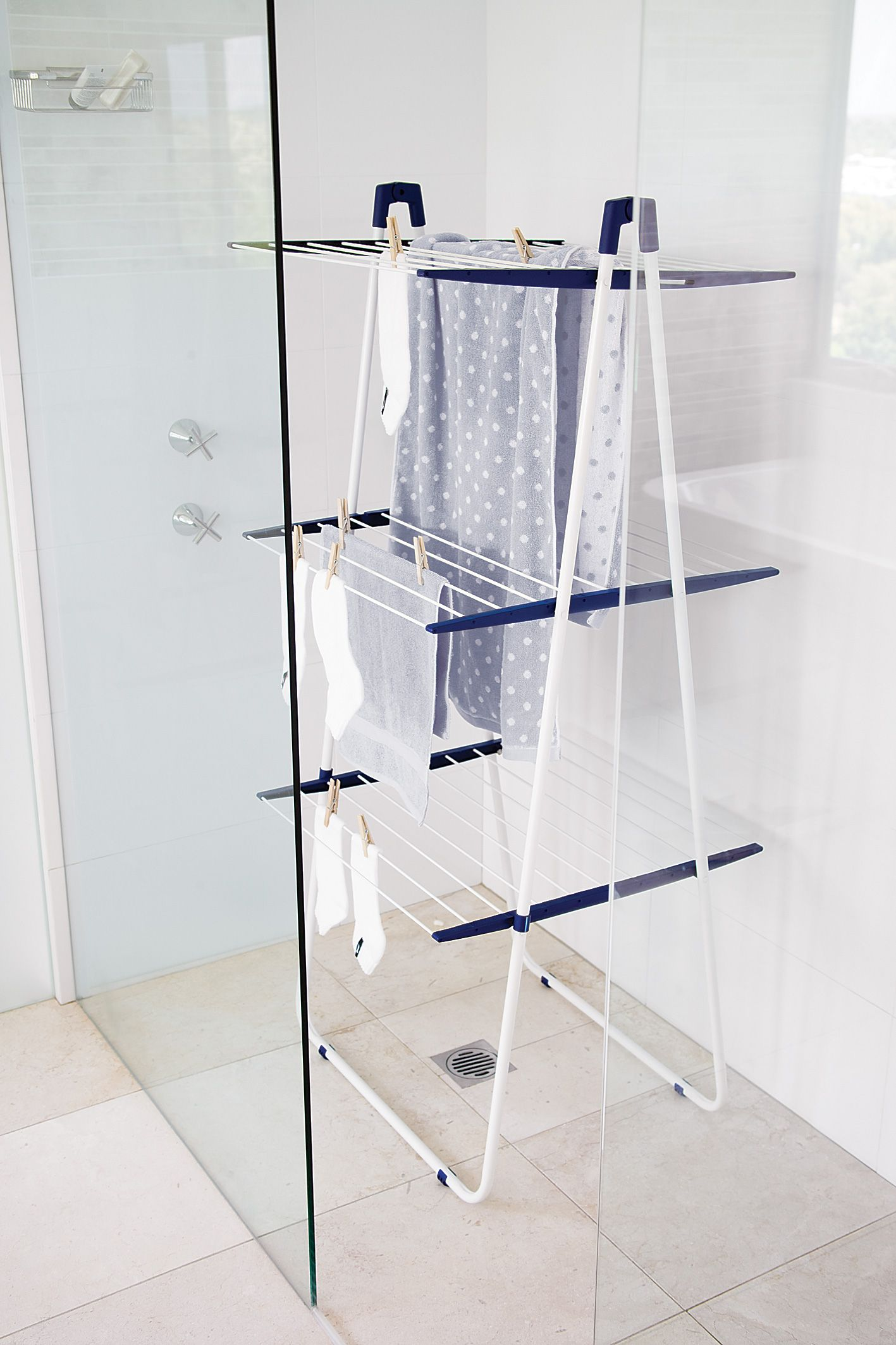 tight on space invest in the leifheit in shower drying tower 169 available at howards. Black Bedroom Furniture Sets. Home Design Ideas
