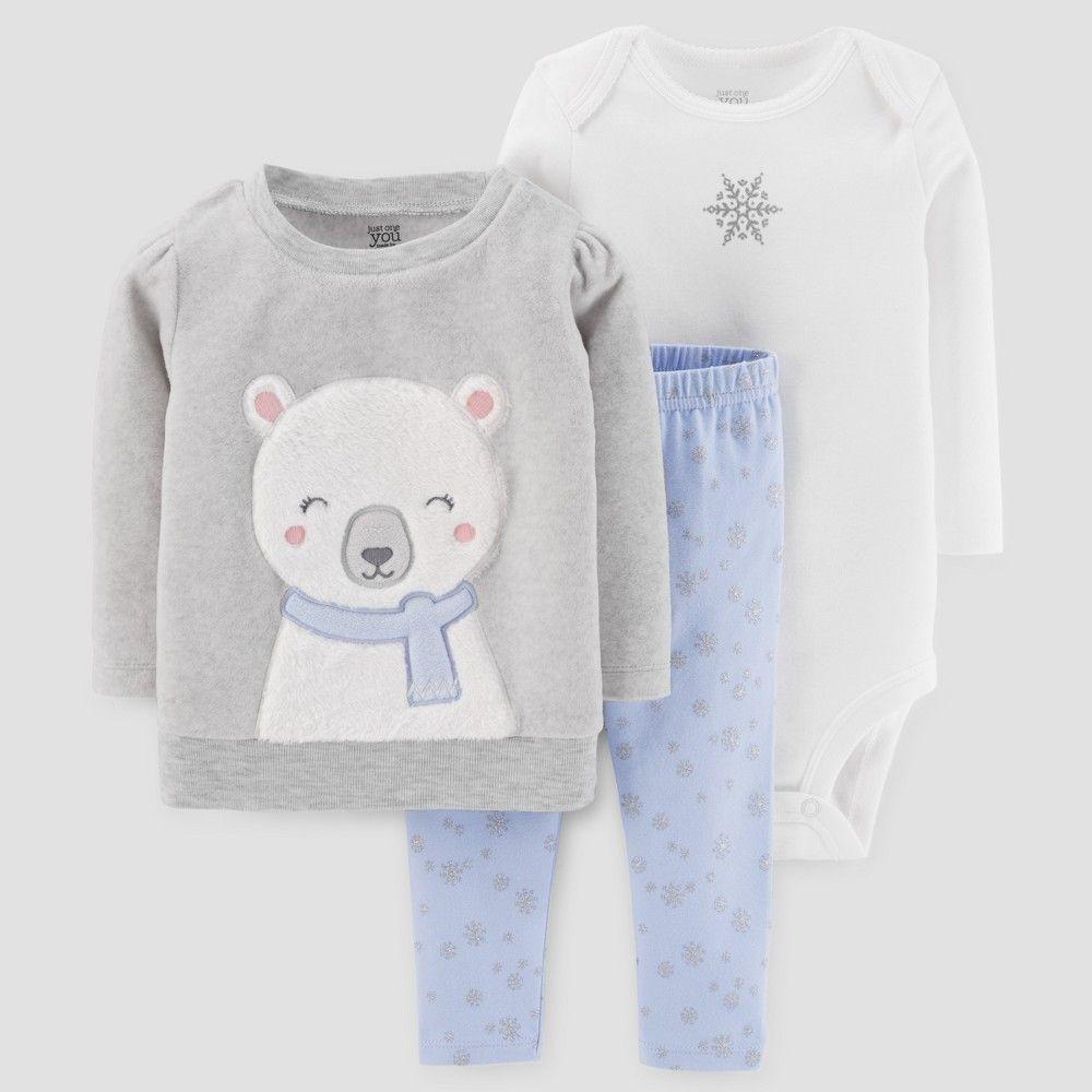 24ee76b908 Baby Girls  3pc Fleece Polar Bear Set - Just One You Made by Carter s  Gray Blue 24M