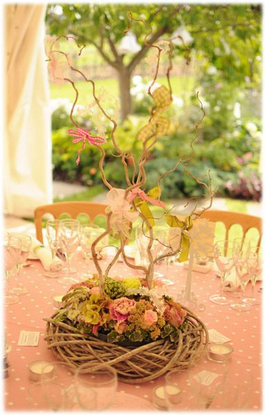 Imagine Flower Ball On Top Of Natural Vine Bird Nest With Moss, On Top Of