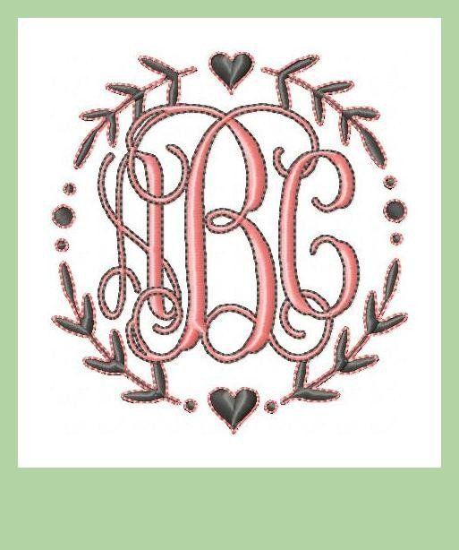 Sweet Laurel Circle Monogram Frame - Machine Embroidery Design