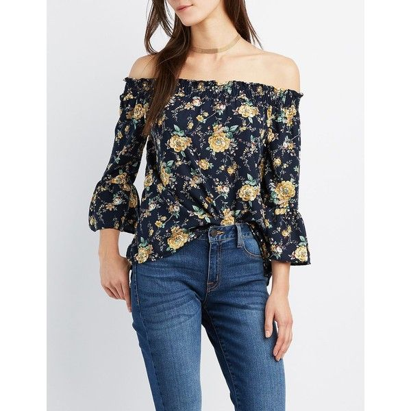 Charlotte Russe Floral Smocked Off-The-Shoulder Top ($17) ❤ liked on Polyvore featuring tops, blouses, navy combo, blue blouse, floral blouse, floral off the shoulder top, off the shoulder tops and off shoulder tops
