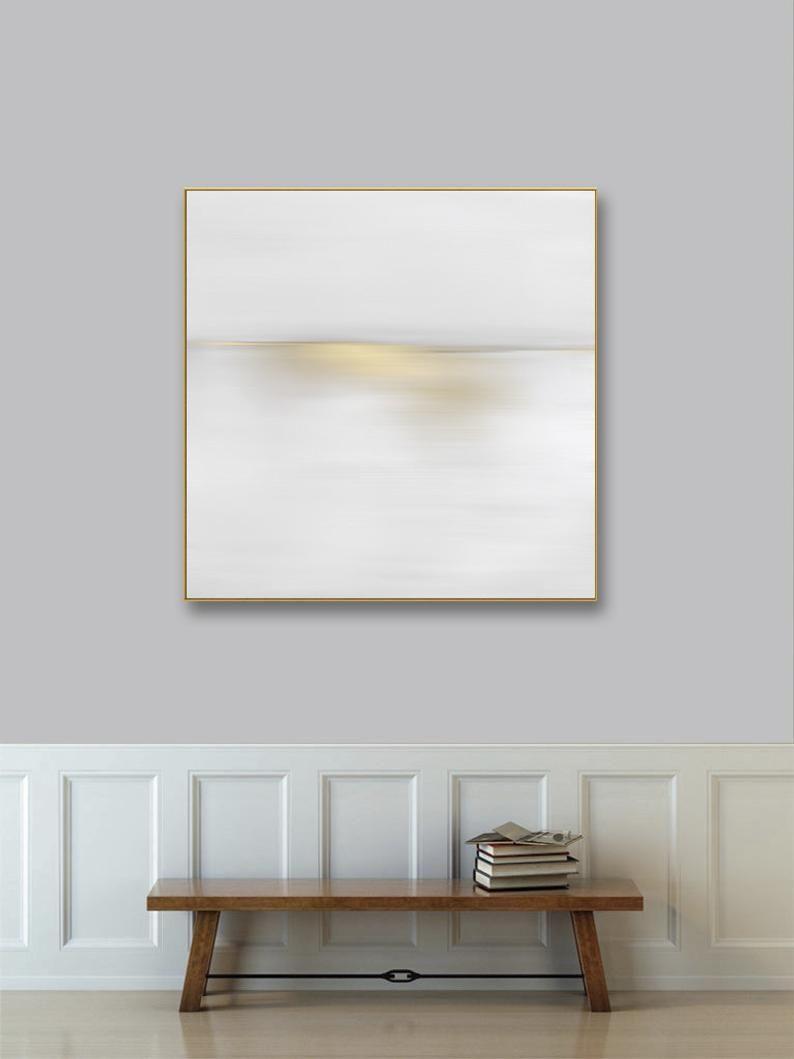 Large Gold Framed Abstract Landscape Art Canvas Silver Framed