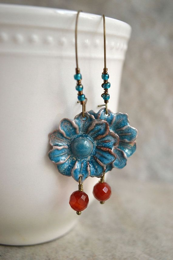 Daisy Enameled Earrings by TheJunquerie on Etsy