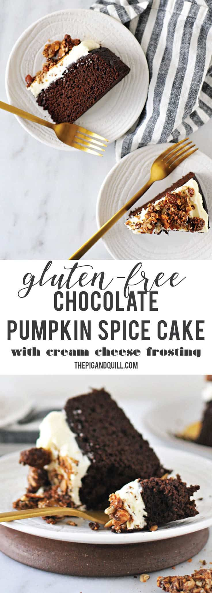 Chocolate pumpkin spice cake with cream cheese frosting