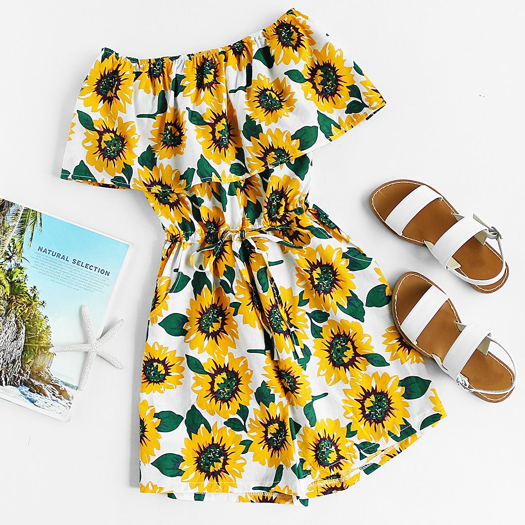 Flounce Layered Neckline Sunflower Print Random Drawstring Romper is part of Cute outfits - Shop [good name] at ROMWE, discover more fashion styles online