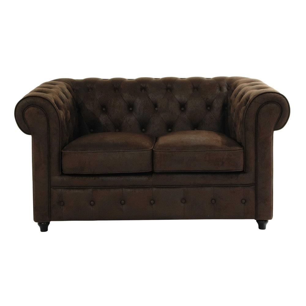 Chesterfield Maison Du Monde canapé capitonné 2 places en suédine marron | button sofa