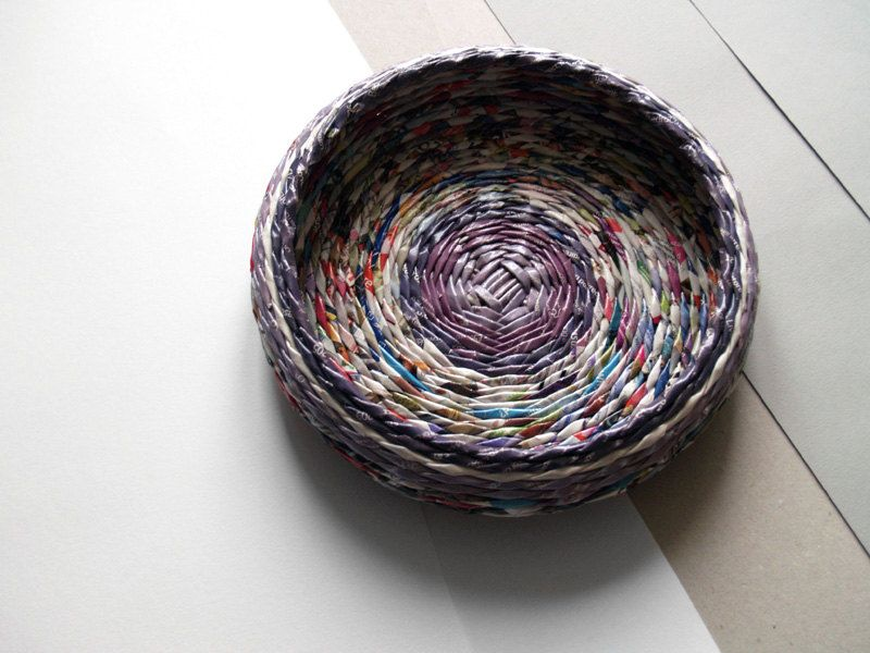 Violet round basket/bowl made from paper by BluReco by BluReco, $49.00