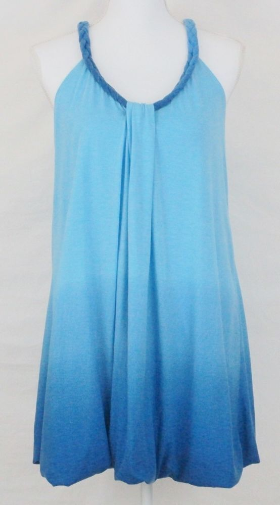 Womens Bubble Dress Size L Blue Knit Racer Back Braided Tank Top Mini Skater #Wetseal #Bubble #SummerBeach