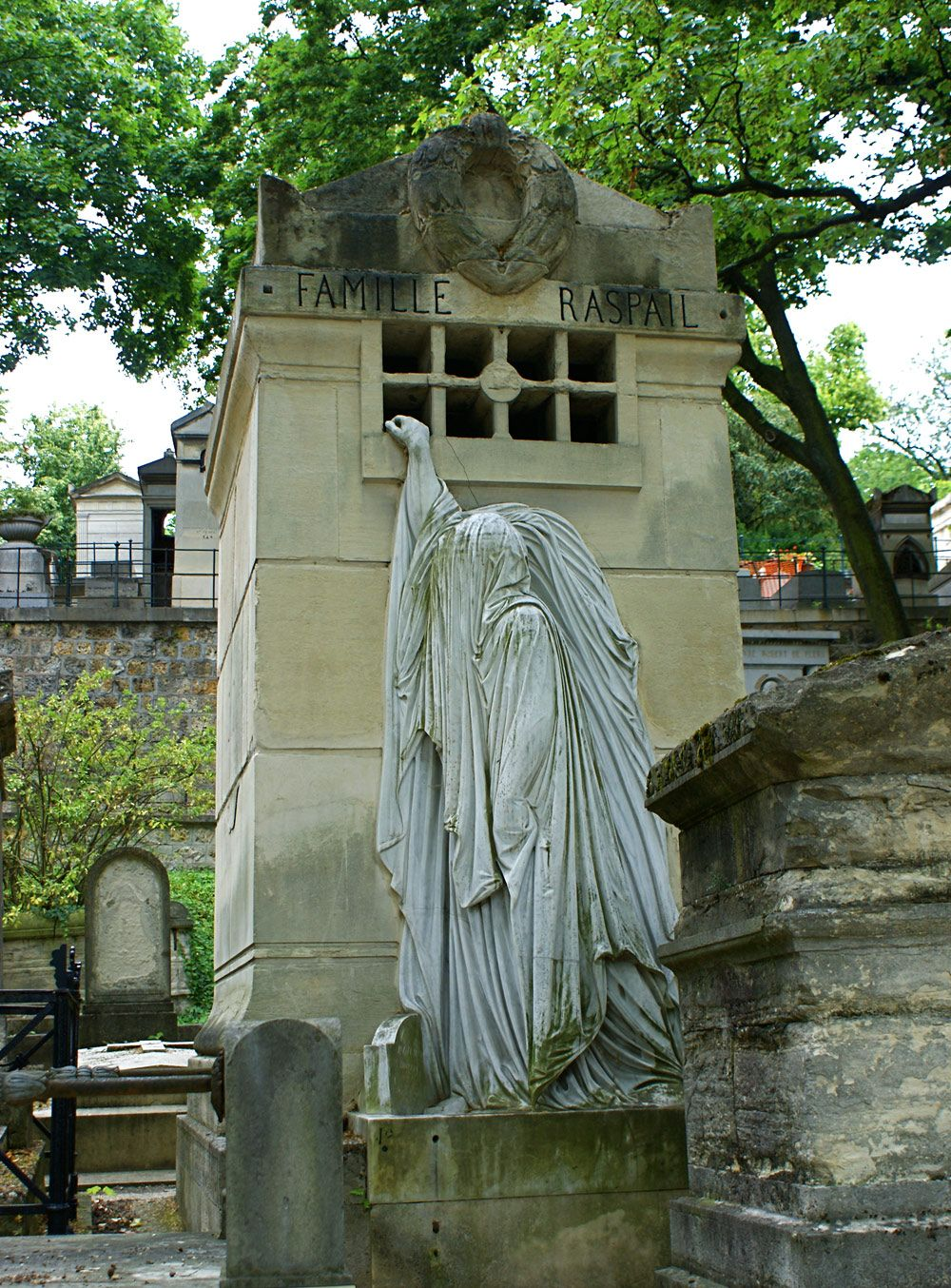 Marble statue and limestone monument, Pere-Lachaise ...