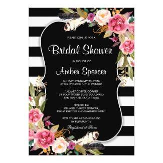 Floral Black White Stripe Boho Chic Bridal Shower Card Bridal - Black and white bridal shower invitation templates