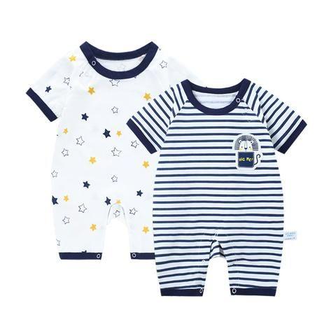 da3391cce 2 pcs lot Jumpsuit Baby Boy Summer Romper Newborn Striped Baby Girl ...