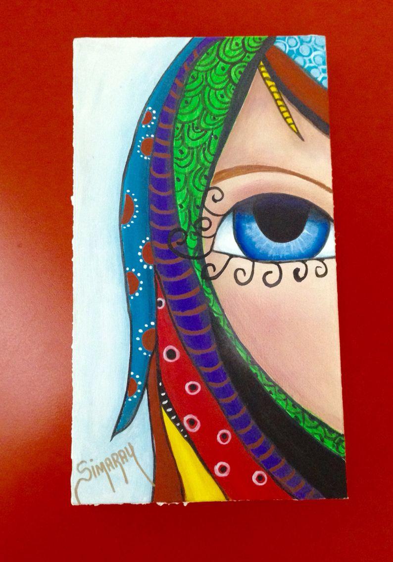 Desde mi Galeria  Retablo pequeño  Pintura acrílica ❤️ Mi niña escondida.