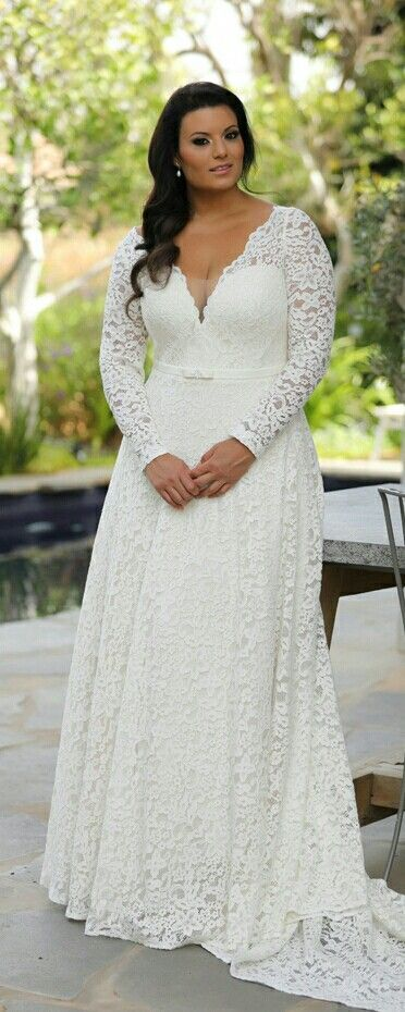 Plus size lace wedding dress with long sleeves and slimming interior ...