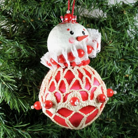 Original Upcycled Snowman Ornament -