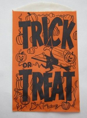Vintage Halloween Candy Bag Trick Or Treat W Flying Witch Jack