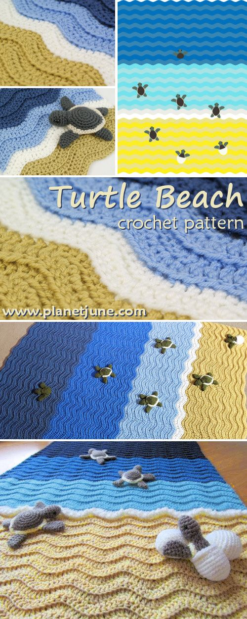 free Turtle Beach blanket crochet pattern by PlanetJune (turtle ...