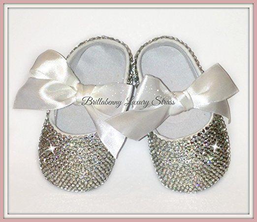 BALLERINE Baby Shoes Neonata Strass Bling 6-12 MESI Scarpine battesimo Wedding