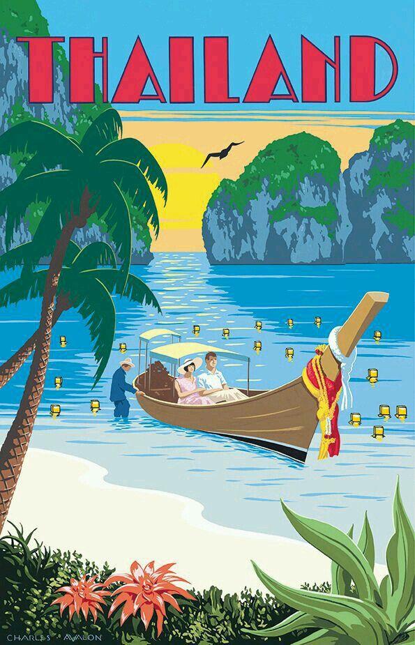 Vintage Travel Poster For Thailand Artwork By Charles Avalon