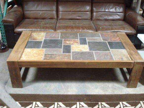 Heavy Wenge And Slate Tile Coffee Table Tiled Coffee Table
