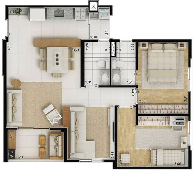 tipos de plantas de casas 70m2 com 2 quartos plantas de