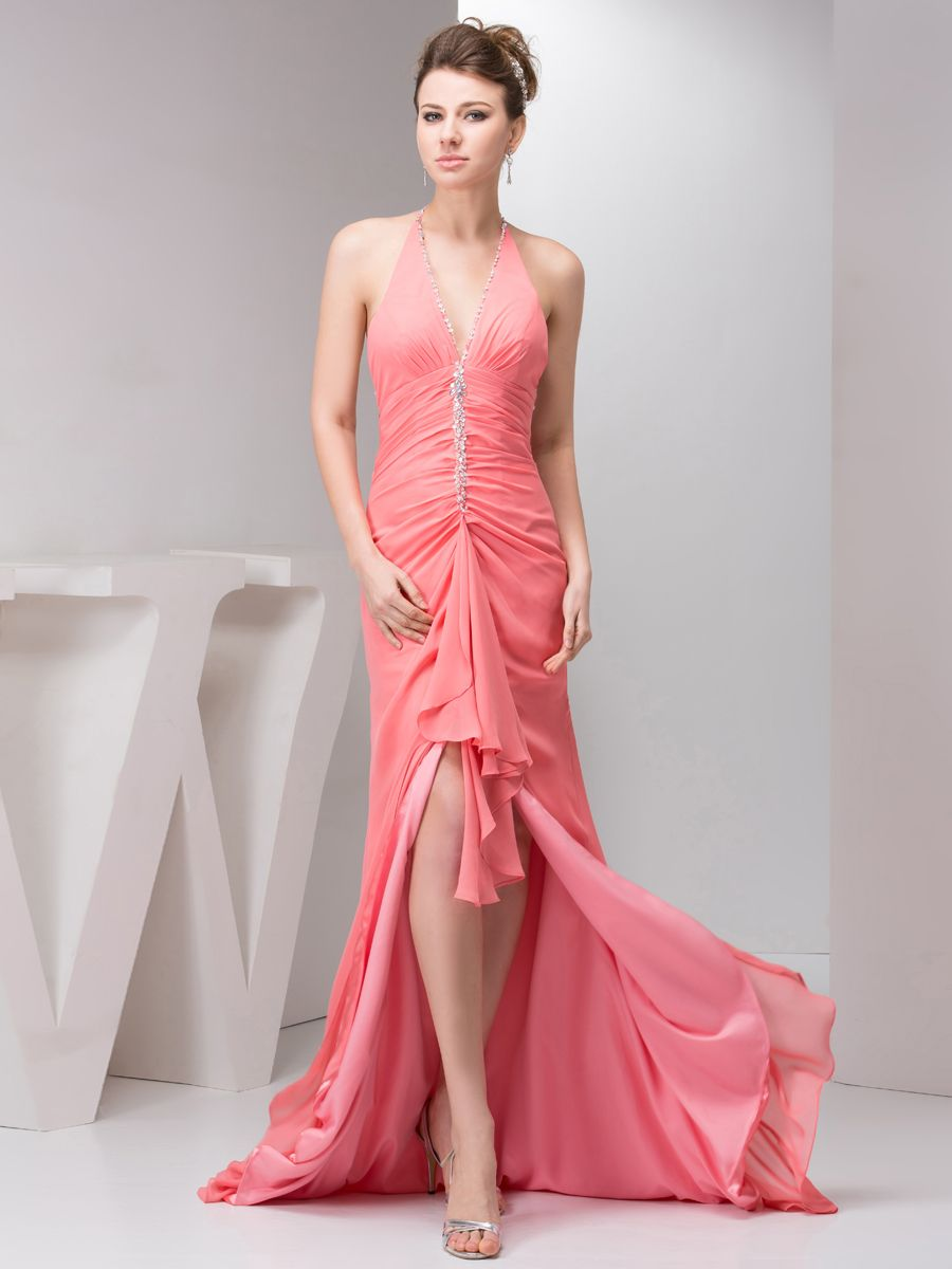 Sequined halter chiffon sheath evening dress brandsamarantafreeship