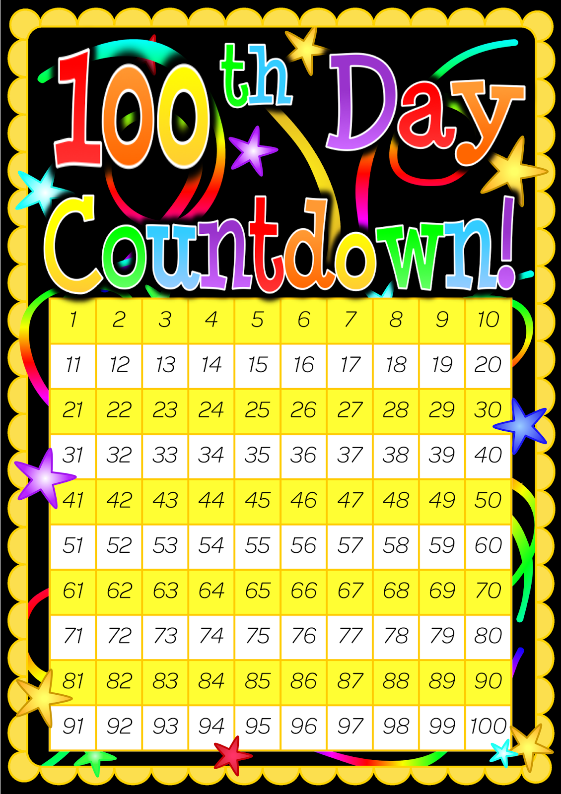100 Day Countdown Poster Included Is A 200 Day Countdown
