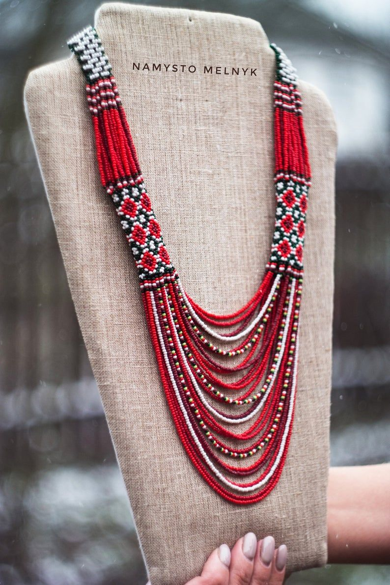 statement necklace multi stranded necklace gift for her| trending necklace handmade beautiful beaded necklace Mother/'s Day gift