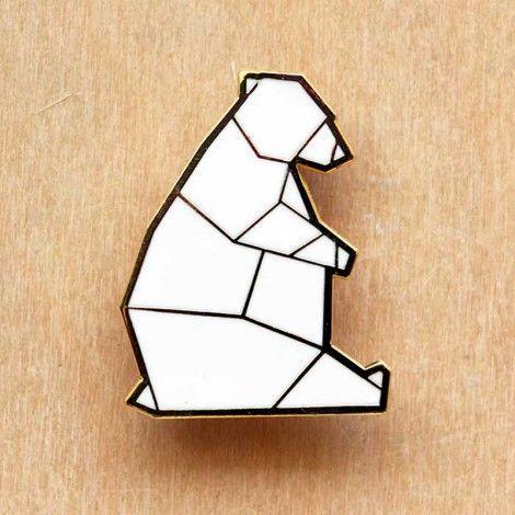 Geometric Bear Ours Geometrique Dessin Drawing Origami Broche Badge Plus