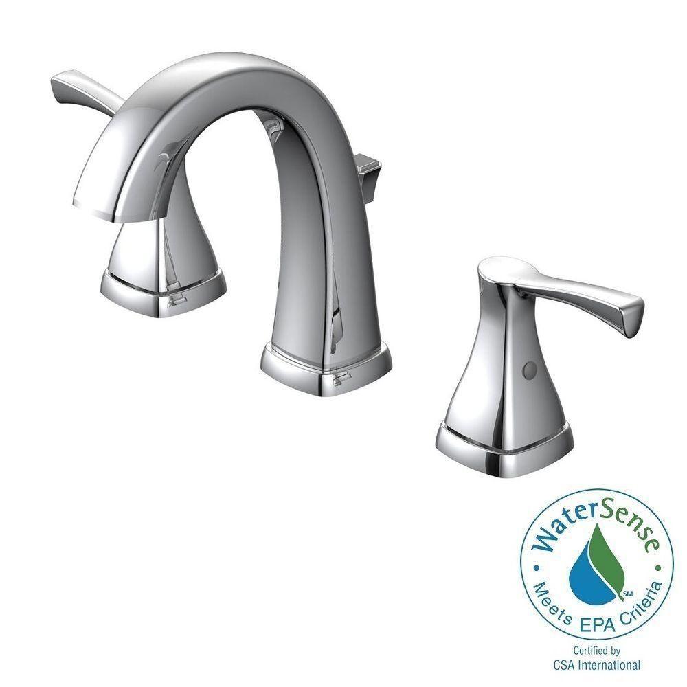 Glacier Bay Jaci 8 in. Widespread 2-Handle Bathroom Faucet in Chrome ...