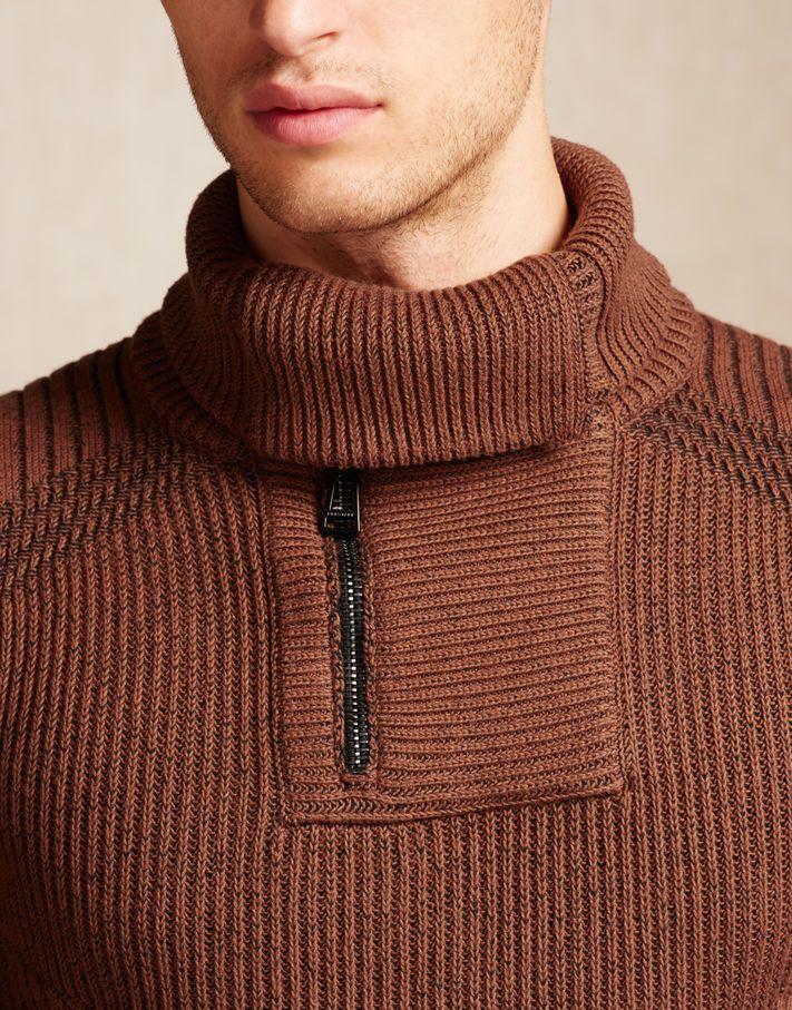Afton Jumper Burnt Orange Cotton Mens New In Knitwear Crochet