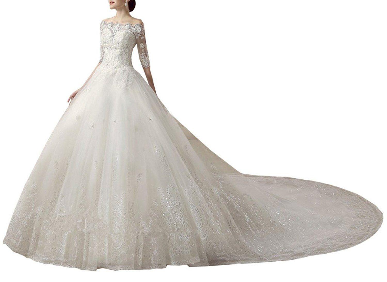 Emmani womenus bateau beads applique bride wedding dresses ball gown