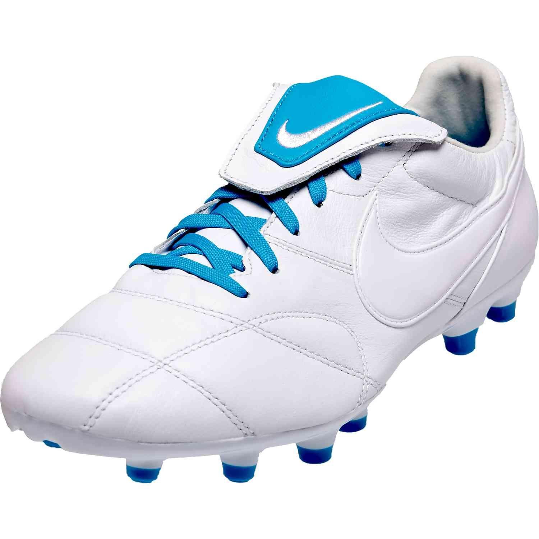 Nike Premier Ii Fg White Light Current Blue Nike Soccer Shoes Nike Soccer Boots