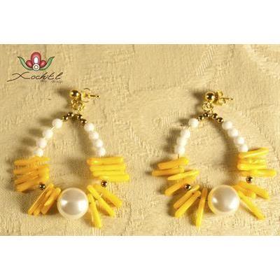 Pendientes aro coral amarillo - #iLovePitita - #Xochitl Desing