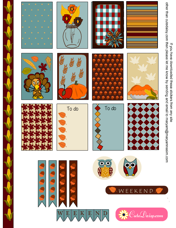 Thanksgiving Stickers Sampler Kit for Happy Planner and EC ...