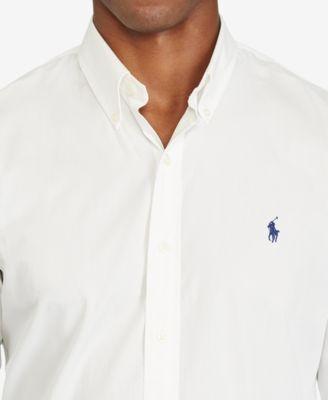 0e02978b2 Polo Ralph Lauren Slim-Fit Men s Long Sleeve Stretch Poplin Shirt - Blue  White XXL