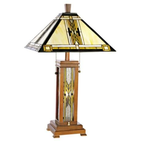 Walnut Mission Style With Night Light Table Lamp 27 High Shade