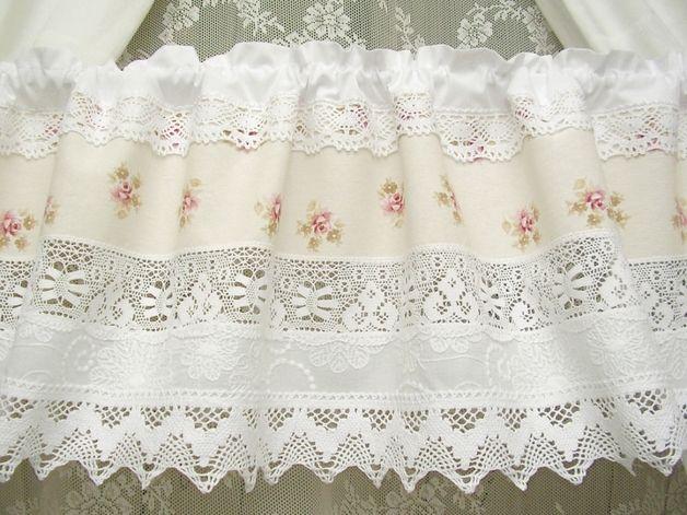 Rideaux vintage shabby chic white cottage rideau rose - Rideaux shabby chic ...