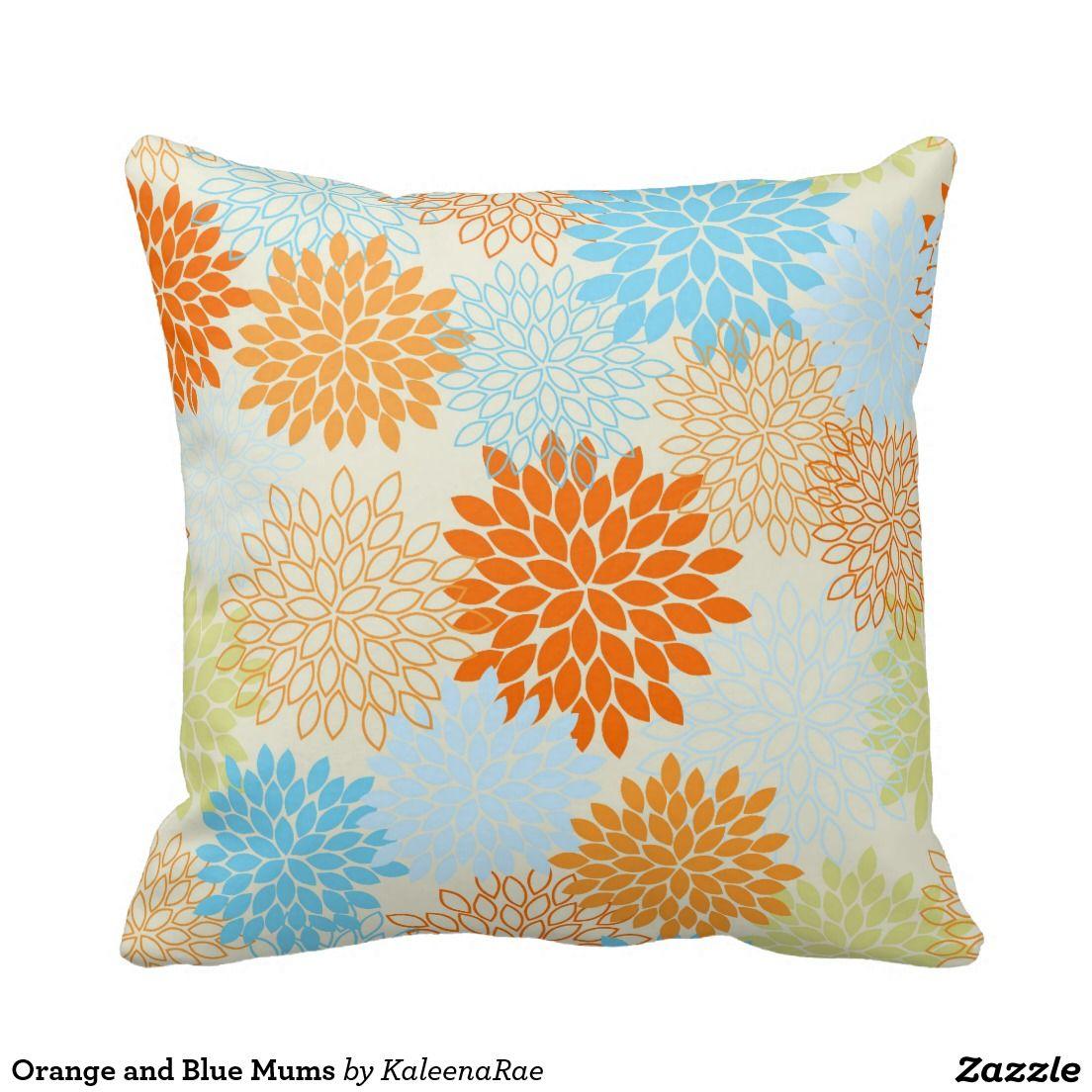 Orange and blue mums throw pillow throw pillows and pillows