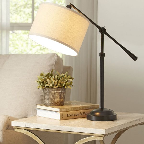 Birch Lane Seattle Table Lamp | A must-have design that blends a contemporary metal base with a natural fabric shade for maximum utility and style.