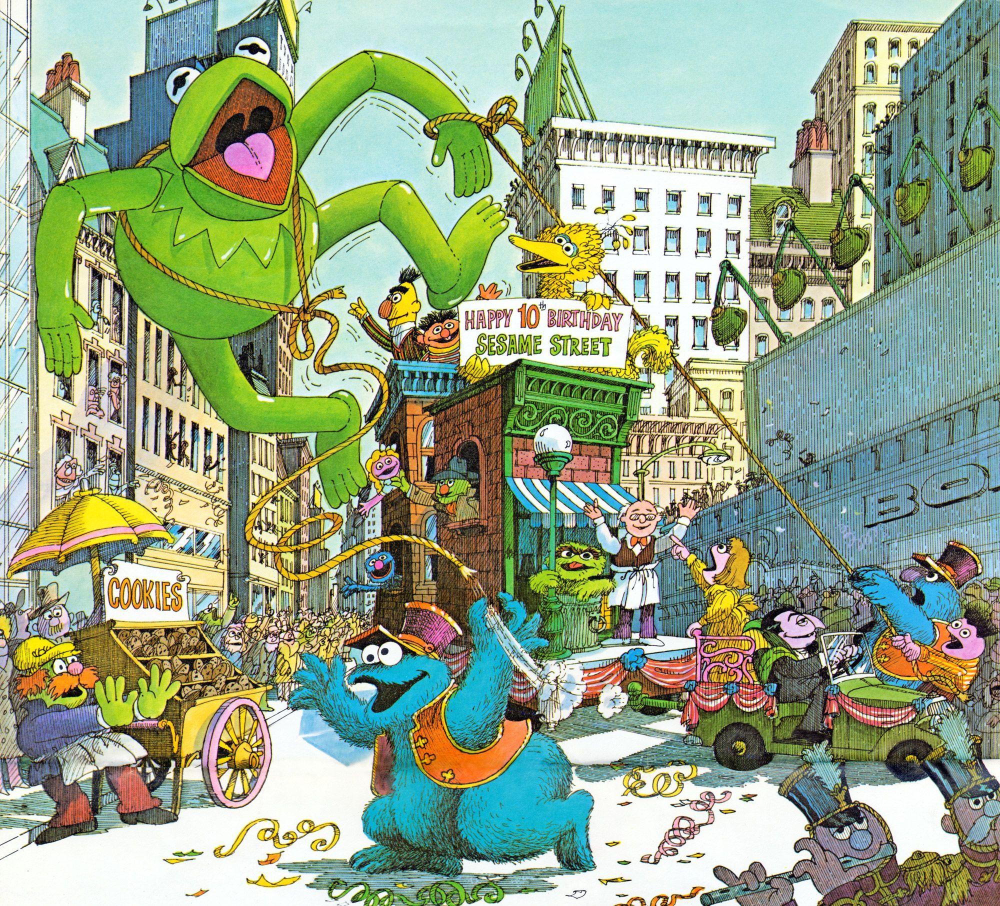 10th Anniversary Sesame Street Drawing Macy S Thanksgiving Day Parade Sesame Street Thanksgiving Day Parade Macy S Thanksgiving Day Parade