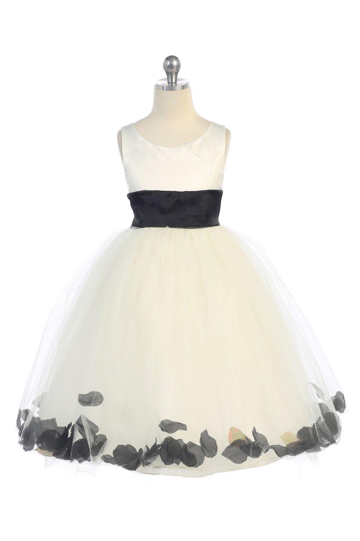 0a7e15d3f3b Ivory Flower Girl Dresses With Black Sash - Gomes Weine AG