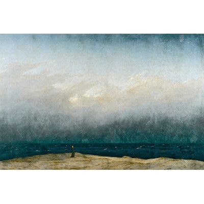 """East Urban Home 'Monk by sea, 1809' by Caspar David Friedrich Painting Print on Wrapped Canvas Size: 18"""" H x 26"""" W x 1.5"""" D"""