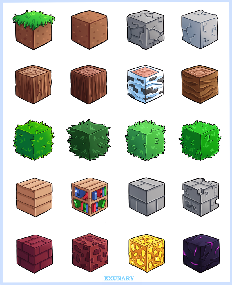 Minecraft Blocks By Exunary D8olxvo Png 800 982 Minecraft Blocks Minecraft Amazing Art